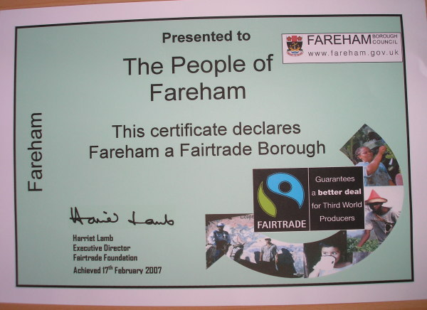 A close-up of the certificate that says that Fareham is a Fairtrade Borough.