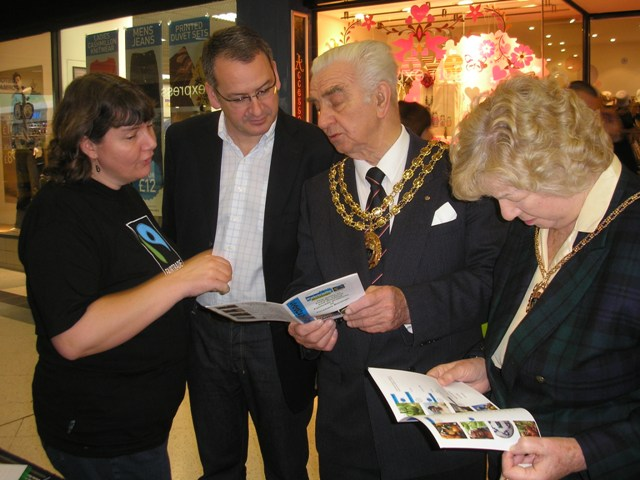 The latest issue of our Fairtrade Directory is presented by Rachel Hicks to Mark Hoban MP, Mayor Ernest Crouch and Mrs Enid Crouch