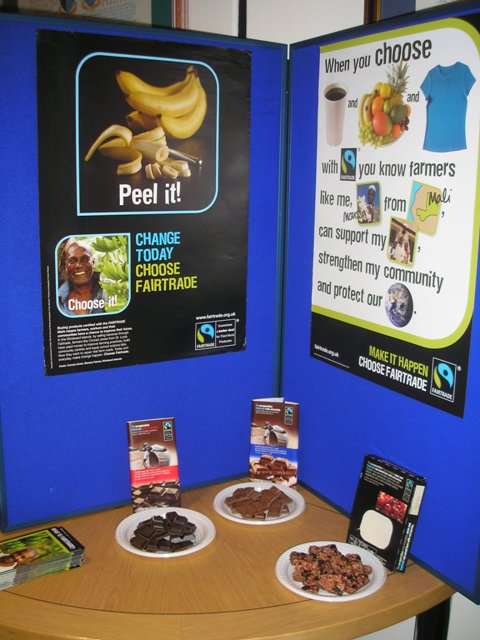 Our display (with Fairtrade chocolate to sample) at the Borough Council meeting