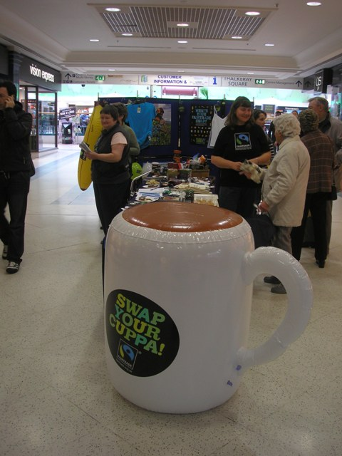 Our stall, fronted by a giant inflatable cuppa.