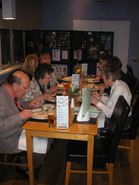 Guests enjoying good Fairtrade food and good company.