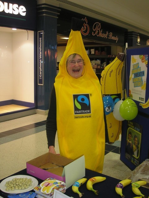 Fairtrade group member Jane Tredgett, dressed as a banana.